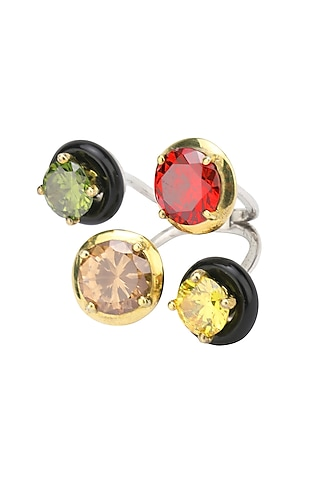 Gold Plated Black Onyx and Multi Coloured Cubic Zirconia Stones Finger Ring by RockkRagaa