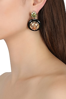 Gold Plated Black Onyx, Peach and Green Cubic Zirconia Stones Drop Earrings by Shruti Agrwal