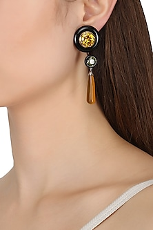 Gold Plated Black and Yellow Onyx with Peach and Green Cubic Zirconia Stones Earrings by Shruti Agrwal