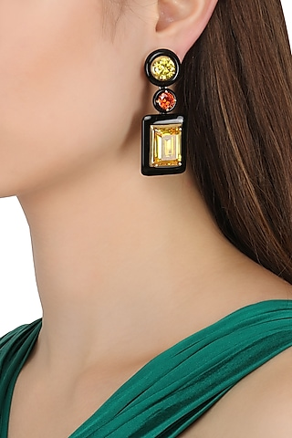Gold Plated Black Onyx, Green, Gold and Red Cubic Zirconia Stones Earrings by RockkRagaa