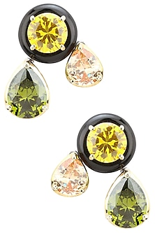 Gold Plated Black Onyx, Peach, Green and Gold Cubic Zirconia Stones Earrings by Shruti Agrwal
