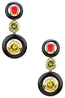 Gold Plated Black Onyx, Gold, Red and Green Cubic Zirconia Stones Two Drop Earrings by Shruti Agrwal