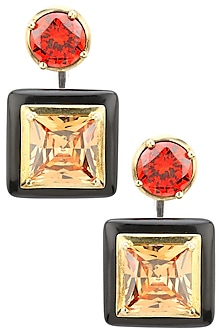 Gold Plated Black Onyx, Gold and Red Cubic Zirconia Stones Earrings by Shruti Agrwal