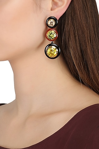 Gold Plated Black and Red Onyx with Multi Coloured Cubic Zirconia Stones Drop Earrings by RockkRagaa