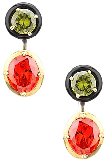 Gold Plated Black Onyx, Red and Green Cubic Zirconia Stones Abstract Earrings by Shruti Agrwal