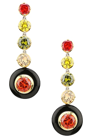 Gold Plated Black Onyx and Multi-Coloured Cubic Zirconia Stones Five Drop Earrings by RockkRagaa