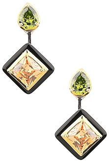 Gold Plated Black Onyx, Green and Peach Cubic Zirconia Stones Drop Earrings by Shruti Agrwal