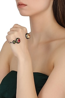 Gold Plated Black Onyx and Multi-Coloured Cubic Zirconia Stones Palmcuff by Shruti Agrwal