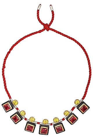 Gold Plated Black Onyx, Red and Yellow Cubic Zirconia Stones Necklace by RockkRagaa