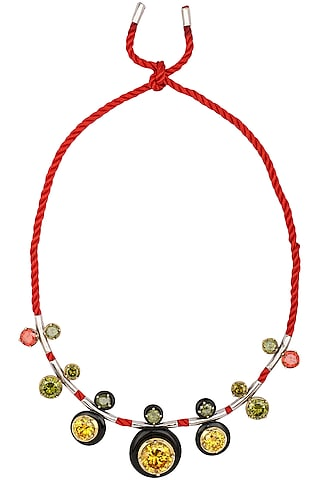 Gold Plated Black Onyx and Multi-Coloured Cubic Zirconia Stones Necklace by RockkRagaa