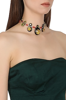 Gold Plated Black Onyx and Multi-Coloured Cubic Zirconia Stones Necklace by Shruti Agrwal