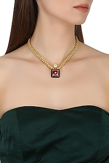 Gold Plated Black Onyx, Peach and Red Cubic Zirconia Stones Pendant Necklace by Shruti Agrwal
