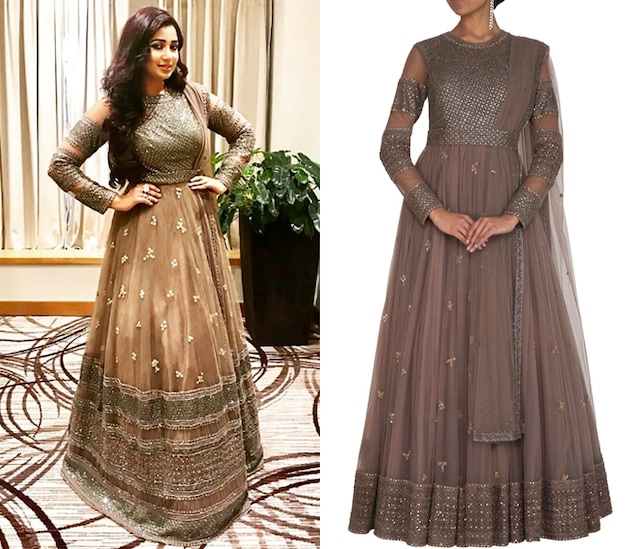 Mouse Grey Embroidered Anarkali Kurta With Dupatta by Megha & Jigar