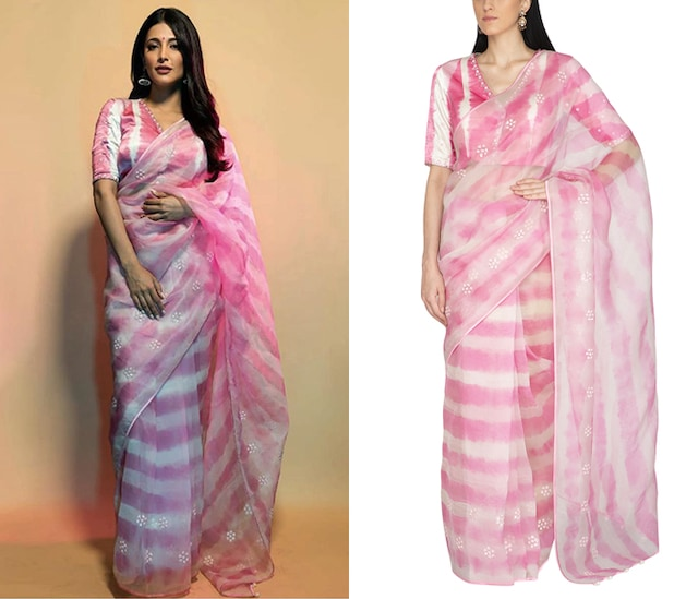 Blush Pink Tie & Dye Embroidered Saree Set by Devnaagri