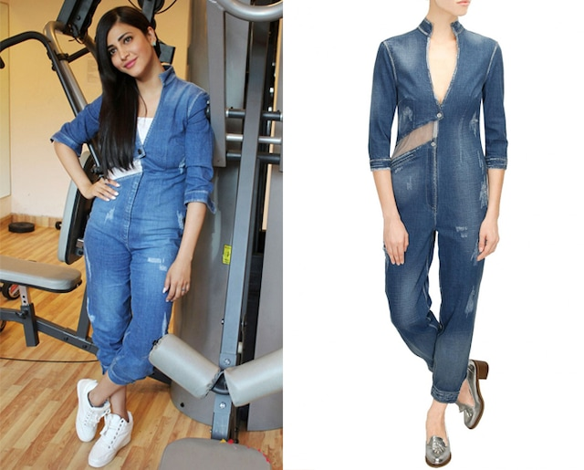 Blue ripped panelled jumpsuit by Kanika Goyal