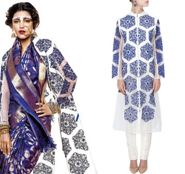 Ivory organza embroidered long jacket by Rahul Mishra