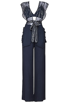 Navy blue embroidered jacket with bustier and pants by SHEENA SINGH
