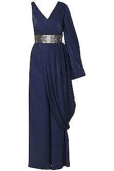 Night blue drape jumpsuit by SHEENA SINGH