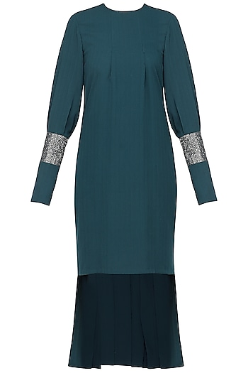 Electric blue embroidered pleated dress by SHEENA SINGH