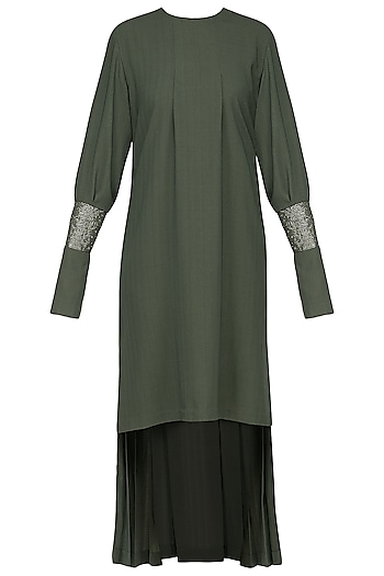 Green embroidered pleated dress by SHEENA SINGH