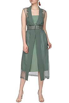 Mint green embroidered sleeveless jacket with dress and belt by SHEENA SINGH