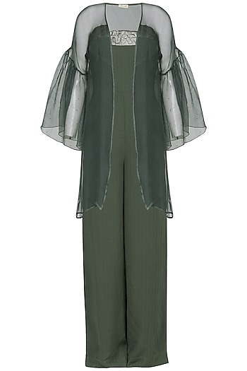 Green embroidered tube jumpsuit with jacket by SHEENA SINGH