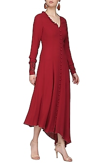 Red embroidered long sleeves dress by SHEENA SINGH