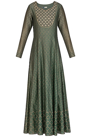 Olive Green Embroidered & Moroccan Block Printed Anarkali With Dupatta by Show Shaa