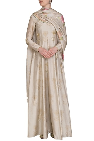 Beige Embroidered Printed Anarkali Kurta WIth Dupatta by Show Shaa