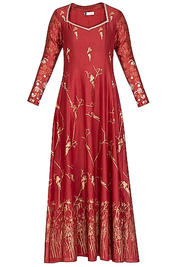 Red Embroidered Printed Anarkali With Dupatta by Show Shaa