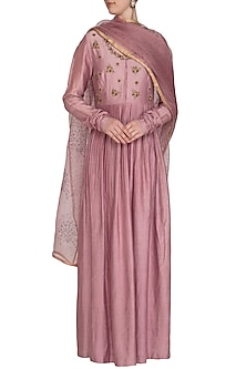 Plum Mauve Embroidered Anarkali With Dupatta by Show Shaa