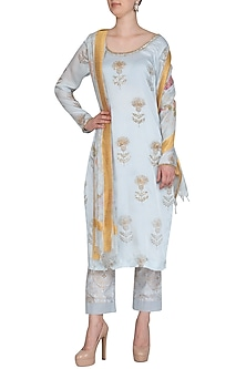 Ice Blue Embroidered Printed Tunic Set by Show Shaa