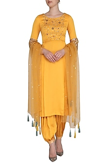Yellow Embroidered Printed Kurta Set by Show Shaa