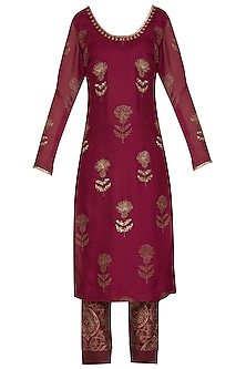 Wine Embroidered Printed Tunic Set by Show Shaa
