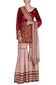Red & Dusty Rose Pink Embroidered Gharara Set by Show Shaa