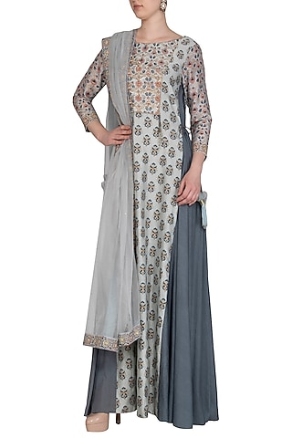Grey Embroidered Printed Angrakha Anarkali Set by Show Shaa