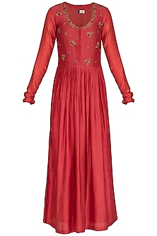 Deep Red Embroidered Anarkali With Dupatta by Show Shaa