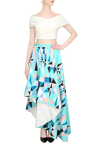 White Cross Over Top With Mint Green Printed Asymmetric Skirt by Shivani Awasty