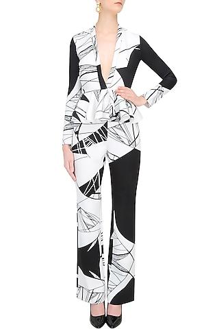 Black And White Optic Print Peplum Jacket With Matching Pants by Shivani Awasty