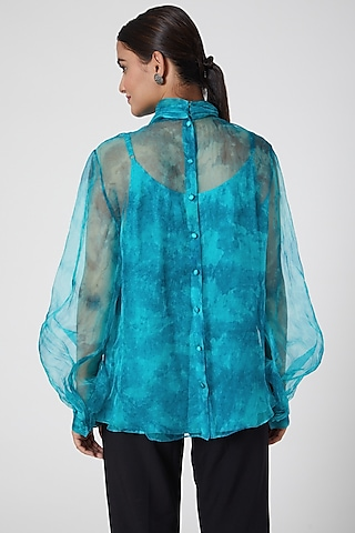 Turquoise Tie-Dye Printed Top by SIDDHARTHA BANSAL