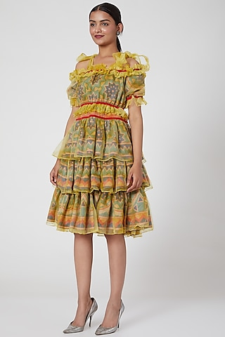 Yellow Marble Printed Dress by SIDDHARTHA BANSAL