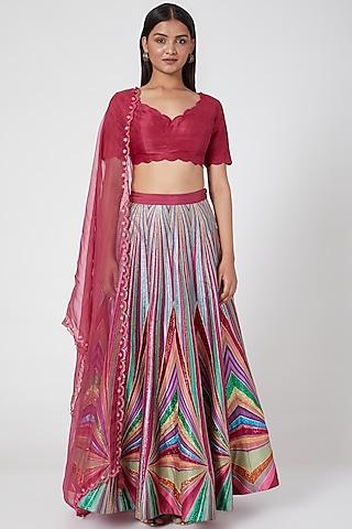 Multi Colored Embroidered Silk Lehenga Set by SIDDHARTHA BANSAL
