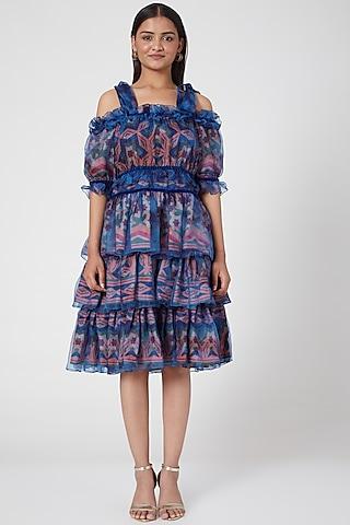 Cobalt Blue Printed Dress by SIDDHARTHA BANSAL