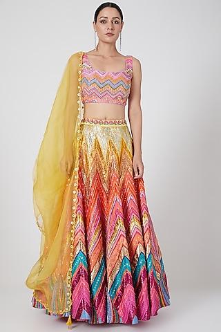 Multi Colored Embroidered Lehenga Set by SIDDHARTHA BANSAL