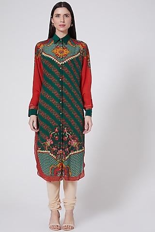 Emerald Green Printed Tunic Set by SIDDHARTHA BANSAL