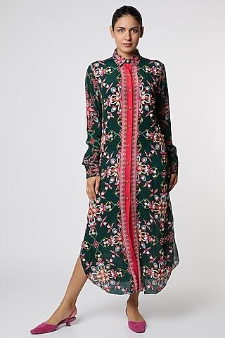 Green & Pink Digital Printed Shirt Dress by SIDDHARTHA BANSAL
