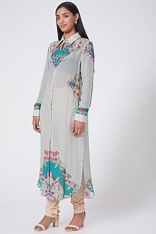Grey Printed Shirt Dress by SIDDHARTHA BANSAL