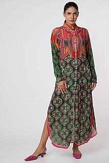 Green & Red Digital Printed Shirt Dress by SIDDHARTHA BANSAL-POPULAR PRODUCTS AT STORE