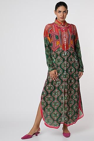 Green & Red Digital Printed Shirt Dress by SIDDHARTHA BANSAL