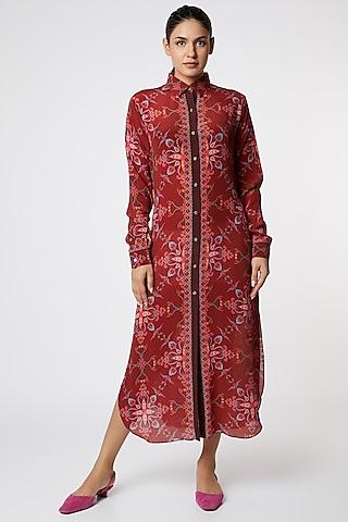 Red & Blue Digital Printed Shirt Dress by SIDDHARTHA BANSAL